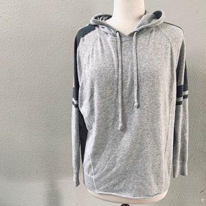 ATHLETA Gray light knit stripe hooded sweatshirt S
